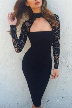 Black Lace Long Sleeves High Neck Bodycon Dress - US$19.95 -YOINS
