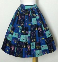 Another faux aaa print. Vintage 50's Riverboats Dancers Novelty Print Cotton Skirt