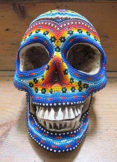 Huichol Beaded Skulls