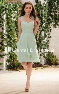 Sleeveless A-Line Knee-Length Bridesmaid Dress With Lace Detail And Ruffles