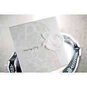 Elegant Embossed White Rose Tri-fold Wedding ... – USD $ 37.99
