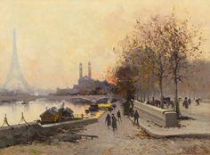 Eugene Galien-Laloue (Jacques Lievin) (French, 1854-1941) Au Bord de la Seine