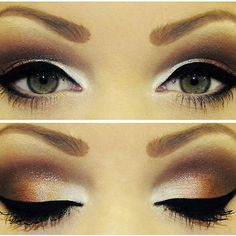 Contoured eye with brown, gold, and white.