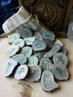 Large Deer Antler Runes, Teal Rune Set, Elder Futhark, Runes, Casting Runes, Viking, White Tail Deer Antler, Divination, Pagan Tools, Witch by TheMagickCabinet on Etsy