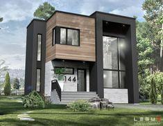 walk-in. Au sous-sol il sera possible d'aménager une Sims 4 House Design, Bungalow House Design, House Front Design, Modern House Design, Morden House, Small Modern House Plans, Townhouse Designs, Vintage House Plans, Dream House Exterior