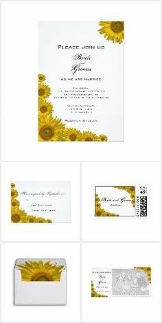 Chic Sunflower WEDDING SET COLLECTION Simple Pretty Personalized Wedding Stationery Floral Flowers Sunflowers Invites Announcements Invitations Postage Stamps Envelopes RSVP Thank You Cards & More!