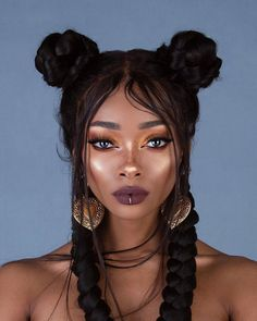 Nyané ™ / Nyane Lebajoa / Influencer, Model & Designer / Offi — Haven't worn black hair in a few years 🖤. Nyane Lebajoa, Curly Hair Styles, Natural Hair Styles, Double Buns, Hair Reference, Grunge Hair, Dark Skin, Hair Inspiration, My Hair