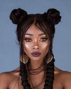 Nyané ™ / Nyane Lebajoa / Influencer, Model & Designer / Offi — Haven't worn black hair in a few years 🖤. Nyane Lebajoa, Curly Hair Styles, Natural Hair Styles, Double Buns, Grunge Hair, Dark Skin, Hair Goals, Hair Inspiration, My Hair