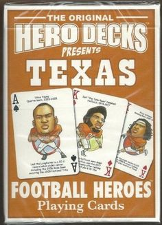 Texas Longhorns NCAA Football Hero Decks Playing Cards Poker Sized 52 Card Deck . $9.99. in near mint/mint condition, authenticated by Seller