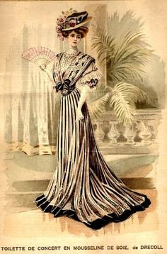 1907 – This dress was made in mousseline and silk, with effective black stripes running down the length of the gown, finishing with a black border. A very early Drecoll design.