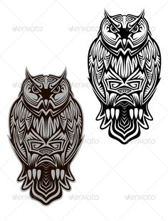 Owl Tattoo #GraphicRiver Owl bird in tribal style for tattoo or another design. Editable EPS8 and JPEG (can edit in any vector and graphic editor) files are included SPORTS MASCOTS MEDICINE FOOD LABELS WEDDING DESIGN ELEMENTS
