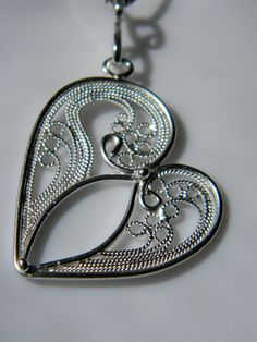 Large Filigree Heart Pendant Russian by selectjewelrydesigns