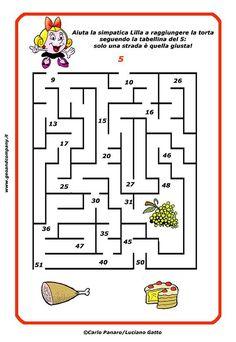 Impara le tabellina e divertiti con il labirinto! Aiuta Lilla a raggiungere la torts seguendo i numeri della tabellina del 5: solo una strada è quella giusta!  #geoandcompany #carlopanaro #lucianogatto #mariapatriziapanaro #tabelline #tabellinadel5 #labirinto #imparararedivertendosi #scuolaprimaria #seconda #maestre #matematica #matematicadivertente #primaryschool #teacher #materialedidattico #schededidattiche #didattica #maths Math 4 Kids, Math 2, Math Games, Activities For 6 Year Olds, Halloween Activities, Cognitive Activities, School Template, Teaching Phonics, English Classroom