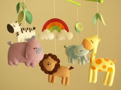 "Baby Crib Mobile, Safari Mobile, Animal Mobile, Felt Mobile ""let's Go To The…"