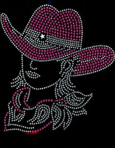 Cowgirl With Hat Pink Rhinestone Transfer Iron on