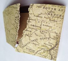 Map SOUTH AFRICA SAFARI Card made from a Coffee Sleeve by Fabubeads