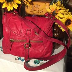 Lucky Brand Crossbody Bag Red Lucky Brand Crossbody Bag- Sz 12x3x14- Genuine leather- 25' strap- Clean interior- Discoloration on back- small half cut on bag. Super cute bag! Lucky Brand Bags Crossbody Bags