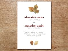 A printable invitation that's perfect for a fall or autumn wedding. Dazzle your guests with this wedding card design featuring thoughtful typography and perfectly situated autumn leaves. You'll be amazed by how easy it is to print your own wedding invitations. Two people can make around 100 invitations with ease in about an hour.
