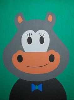 Kinderkamerkunst. Handgemaakt kinderschilderij Nijlpaard 30x40. Achtergrond: groen. kinderschilderijen www.byphilomena.nl Gemaakt door: Philomena. Doek: Canvas