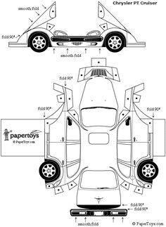 PT Cruiser Model Car Cut Out - Free Printable Paper Template Paper Model Car, Paper Car, Old Paper, Paper Models, Paper Toys, Kirigami, Paper Train, 3d Templates, Aluminum Foil Art