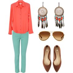 coral and green,