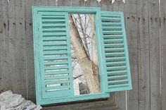 Window Mirror Shutter Mirror Wood Mirror by TheVintageArtistry