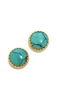 Heather Hawkins Cabachon Turquoise Stud Earrings