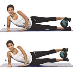 Lateral Lift: Grab a 4 to 8-pound medicine ball, place it between your ankles, and lie on your right side with your legs straight (A). With your palms flat on the floor in front of you for support, slowly lift your legs a few inches, then slowly lower them (B). Do 8 to 12 reps on each side without rest. Hit your abs every other move to keep them awake and engaged.
