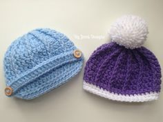By Jenni Designs: Free Crochet Pattern: Newborn Ribbed Beanie or Newsboy Hat
