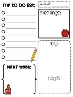 Use this every week to help you keep track of everything- from staff meetings to parent volunteers to the long to do list that never seems to end :...