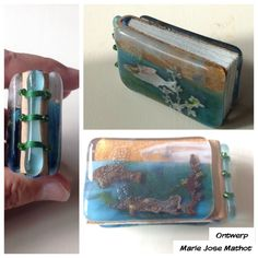Miniature book mr van Zoeten, leather with fused glass. Aluminium fish from Sizzix