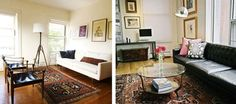 A Winning Trifecta: Leather, Mid-Century Modern and Oriental Rugs