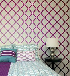 Plantillas decorativas para el dise o de interiores no gastes fortunas en papel tapiz mejor - Plantillas decorativas para pintar paredes ...