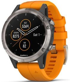 cfd1dbc3391df6 Garmin Watch Fenix 5 Plus Sapphire Titanium Orange Silicone Band