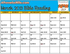 FREE Printable March 2013 Bible Reading Plan |1 Verse a Day