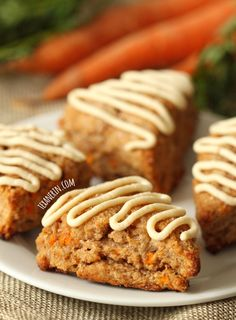 These carrot cake scones are made a little healthier with whole grains, less sugar and maple-sweetened cream cheese frosting!