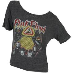 """Chaser LA Pink Floyd """"Heart of the Sun"""" Boxy Tee Shirt in Black ::... ($43) ❤ liked on Polyvore"""