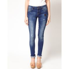 Asos Skinny Jean With Distressed Vintage Finish ($53) ❤ liked on Polyvore