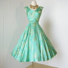 vintage 1950's dress ...gorgeous ORIENTAL PAGODA scenic embroidered seagreen  gold damask full circle skirt pin-up cocktail dress
