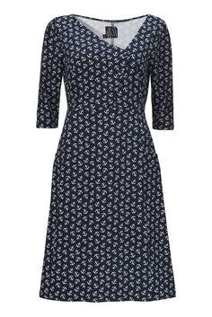 Ohøj! Synne kjolen i marine blå jersey med fine små anker, er både sjov og klædelig.