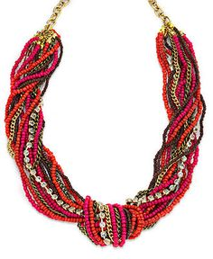INC International Concepts Necklace, 12k Gold-Plated Red Seed Bead and Rhinestone Torsade Necklace - Fashion Necklaces - Jewelry & Watches - Macy's