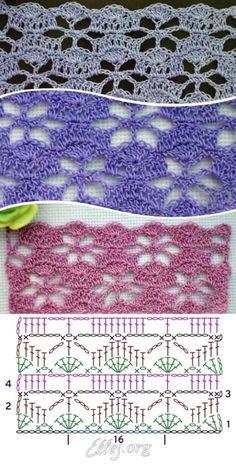 Crochet Stitches Chart, Granny Square Crochet Pattern, Crochet Flower Patterns, Crochet Diagram, Crochet Squares, Crochet Motif, Crochet Designs, Crochet Lace, Knitting Patterns