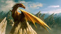 Золотые драконы обитают в пещерах, на вершинах утесов и скал