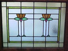Arts & Crafts stained glass flowers window