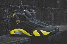 sports shoes f0fdd d40c2 New Air Jordan 14 Retro Thunder Black/Vibrant Yellow-White Shoes For Sale  Online Shop.
