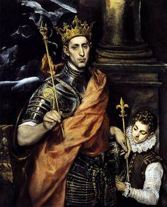 St Louis, King of France, with a Page. El Greco. 1592-1595. Oil on canvas. 120 x 96 cm. Musée du Louvre. Paris.