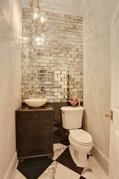 mirrored tiles are a great substitute for a windowless room for rh pinterest com