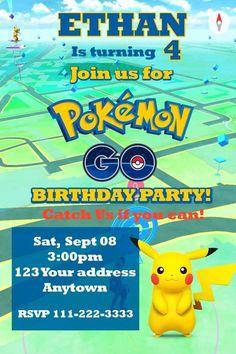 Pokemon Go Pikachu Birthday Party Invitations