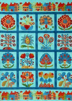 """Sue Spargo & Wendy Morris for Robert Kaufman Fabrics (Teal Panel  24"""" repeat; sold as 2/3 of a yard only)"""