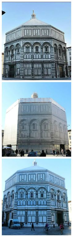 Baptistery restoration: before, during, after